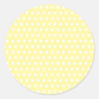 Modelo de lunares amarillo. Manchado Pegatina Redonda