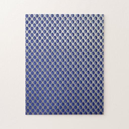 Modelo de lunares azul de plata abstracto del meta puzzles con fotos