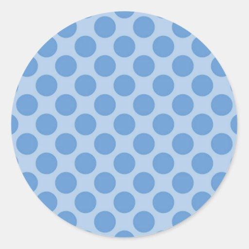 Modelo de lunares azul fresco en los regalos pegatina redonda