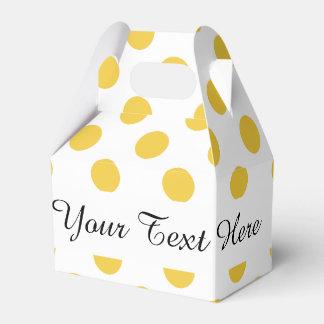 Modelo de lunares blanco amarillo cajas para regalos