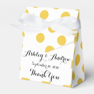 Modelo de lunares blanco amarillo cajas para detalles de boda