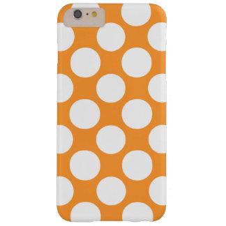 Modelo de lunares blanco anaranjado moderno funda de iPhone 6 plus barely there