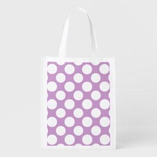 Modelo de lunares blanco de la lila moderna bolsa de la compra