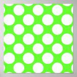 Modelo de lunares blanco de la verde lima moderna posters