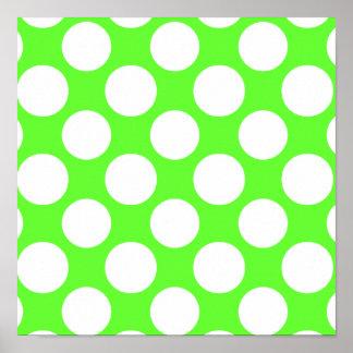 Modelo de lunares blanco de la verde lima moderna póster