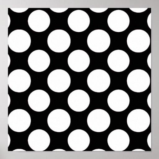 Modelo de lunares blanco negro moderno posters