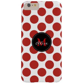 Modelo de lunares blanco rojo del monograma el   funda barely there iPhone 6 plus