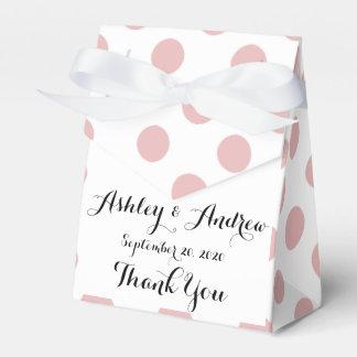 Modelo de lunares blanco rosado caja para regalo de boda