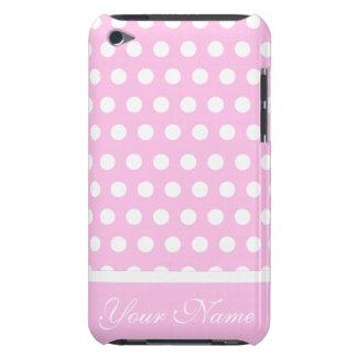 Modelo de lunares blanco rosado iPod touch cárcasa