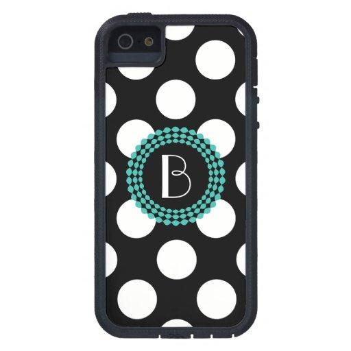 Modelo de lunares blanco y negro elegante iPhone 5 protectores