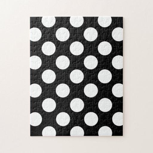 Modelo de lunares blanco y negro elegante puzzles con fotos