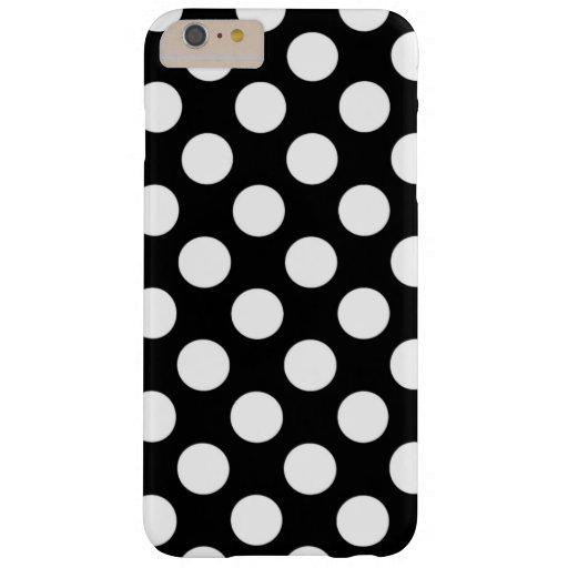 Modelo de lunares blanco y negro femenino funda de iPhone 6 plus barely there