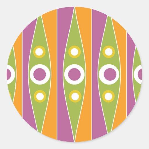 Modelo de lunares colorido moderno etiqueta redonda