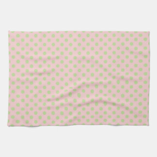 Modelo de lunares de moda del verde de los rosas toallas de mano