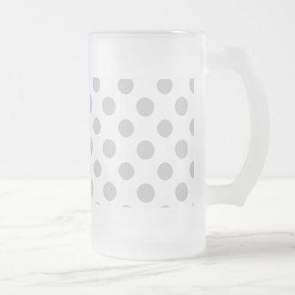 Modelo de lunares del blanco gris taza cristal mate