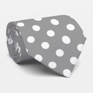 Modelo de lunares gris blanco corbata personalizada