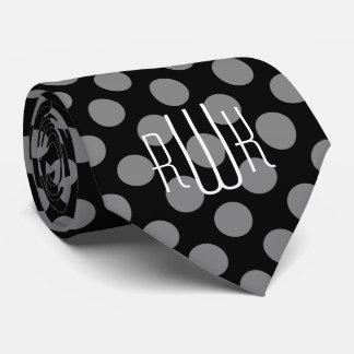 Modelo de lunares negro gris elegante del corbata personalizada