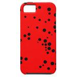 Modelo de lunares negro y rojo iPhone 5 Case-Mate cárcasa