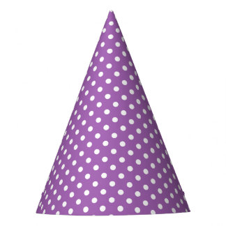 Modelo de lunares púrpura y blanco gorro de fiesta