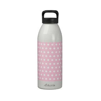 Modelo de lunares rosado y blanco botellas de agua reutilizables