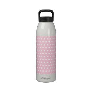 Modelo de lunares rosado y blanco botella de agua