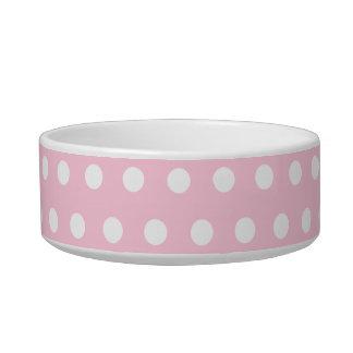 Modelo de lunares rosado y blanco comedero para mascota