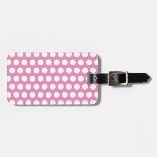 Modelo de lunares rosado y blanco etiqueta para maleta