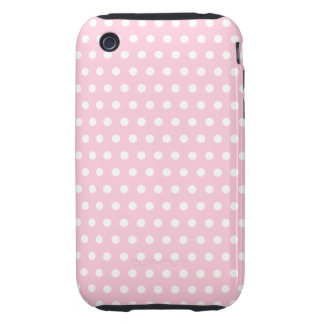 Modelo de lunares rosado y blanco tough iPhone 3 carcasas