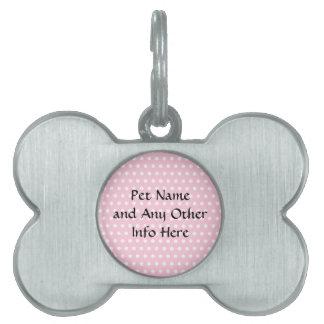 Modelo de lunares rosado y blanco placa de mascota