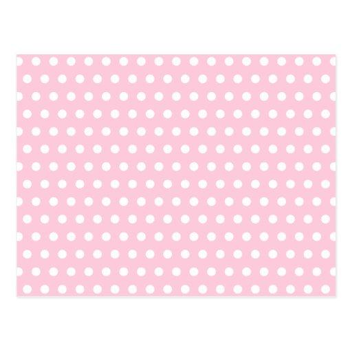 Modelo de lunares rosado y blanco postal
