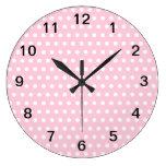 Modelo de lunares rosado y blanco reloj de pared