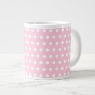 Modelo de lunares rosado y blanco taza extra grande