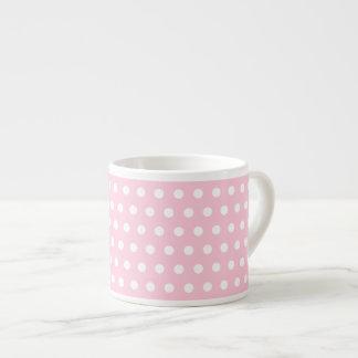 Modelo de lunares rosado y blanco taza espresso