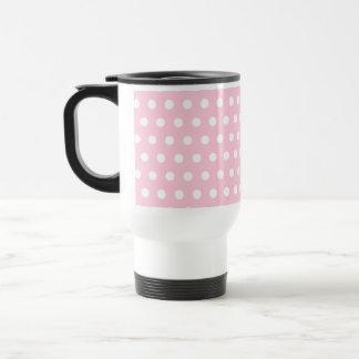 Modelo de lunares rosado y blanco taza térmica