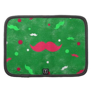 Modelo de lunares verde rojo del bigote del navida planificadores