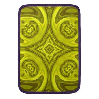 Modelo de madera abstracto amarillo fundas MacBook