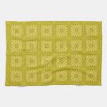 Modelo de madera abstracto amarillo toallas de mano
