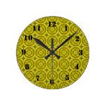 Modelo de madera abstracto amarillo relojes de pared