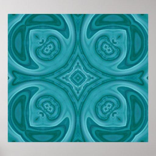 Modelo de madera abstracto azul póster