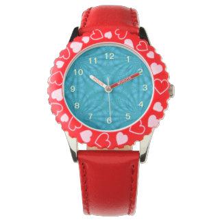 Modelo de madera abstracto azul reloj de mano