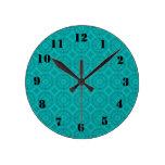 Modelo de madera abstracto azul relojes