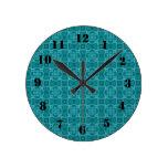 Modelo de madera abstracto azul relojes de pared