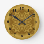 Modelo de madera abstracto moderno reloj redondo mediano