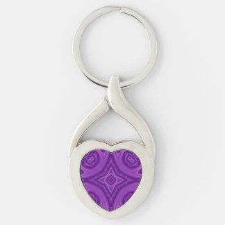 Modelo de madera abstracto púrpura llavero plateado en forma de corazón