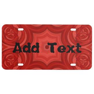 Modelo de madera abstracto rojo placa de matrícula