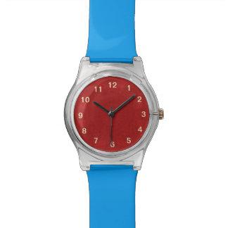 Modelo de madera abstracto rojo reloj