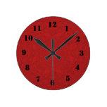 Modelo de madera abstracto rojo reloj de pared