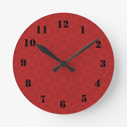 Modelo de madera abstracto rojo reloj redondo mediano