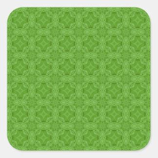 Modelo de madera abstracto verde calcomanía cuadrada