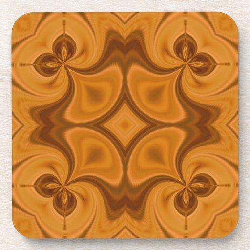 Modelo de madera anaranjado decorativo posavaso